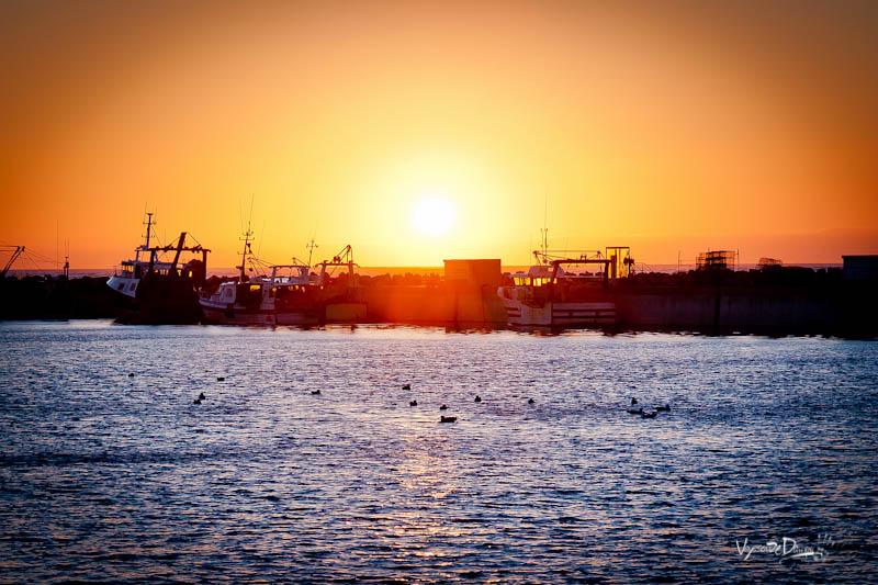 Erquy - Couché de soleil sur le port